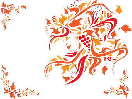 Floral woman face with orange leaves in the hair and frame decorations Vector