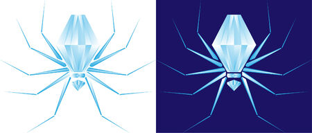 beautiful diamond spider on white and blue background Illustration