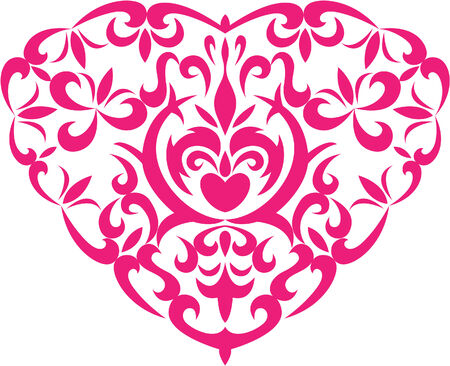 heart with decoration floral elements on white background Illustration