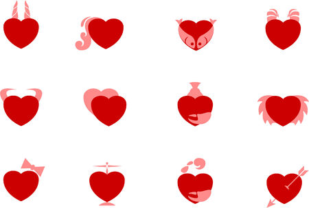 sample heart zodiac icons isolated over white background