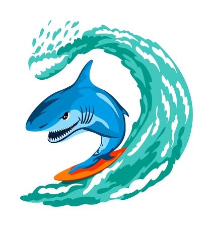 threaten: cartoon angry shark serfing on a wave