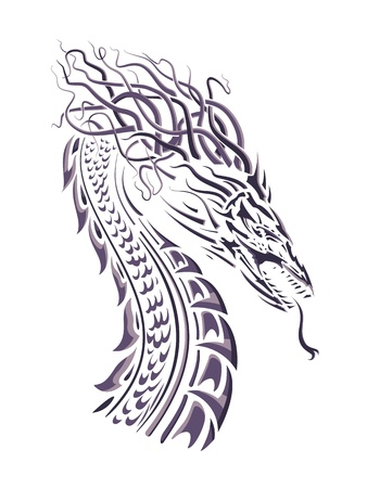 com escamas: Sample dragon silhouette on white background, head with hair and neck