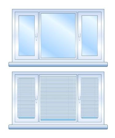 vista ventana: Amplia ventana sin persianas cerradas y con las persianas cerradas, aisladas Vectores