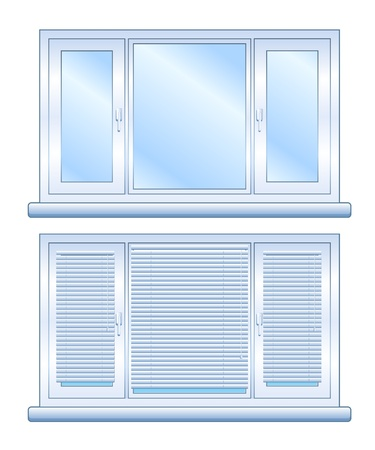 Wide closed window without blinds and with closed blinds, isolated