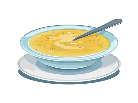 Dinner plate with soup and spoon, isolated Illustration