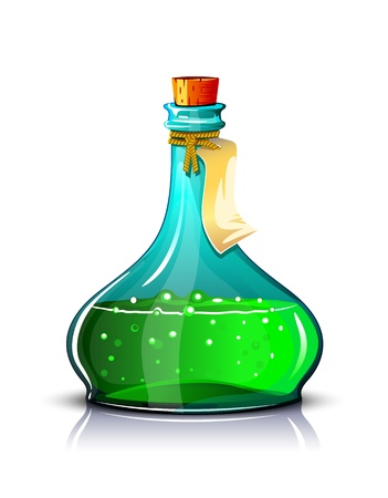 Bottle of green elixir with label, make transparent objects and opacity masks on shadows.