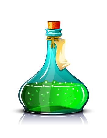 Fles groene elixer met label, maken transparante objecten en dekkingsmaskers op schaduwen. Vector Illustratie