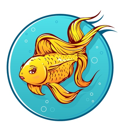 Lovely goldfish cartoon with small lips on round water background Illustration