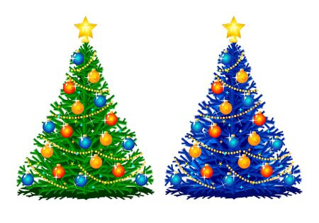 Two small christmas trees in different colors, isolated