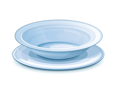 Empty dinner plate in blue color with stand, eps10 illustration make transparent objects, isolated