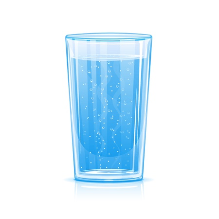 Glass of fizzy water, illustration make transparent objects, isolated Vettoriali