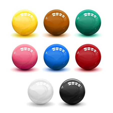 8 ball pool: Set of snooker balls, illustration make transparent objects, isolated