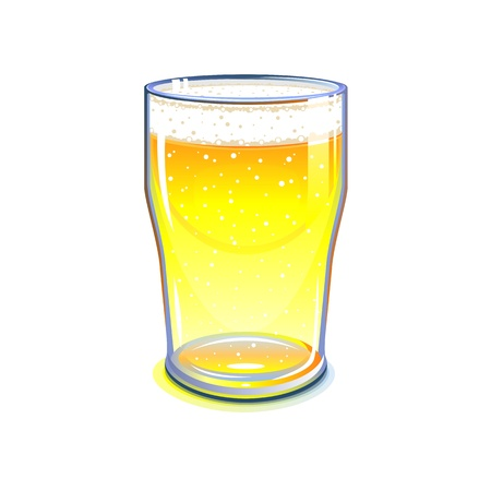 Pint glass with light beer, isolated Illustration