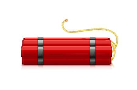 bombing: Lote de cartuchos de dinamita rojo con la grabaci�n Bickford fusible, ilustraci�n hacer objetos transparentes y las m�scaras de opacidad en las sombras