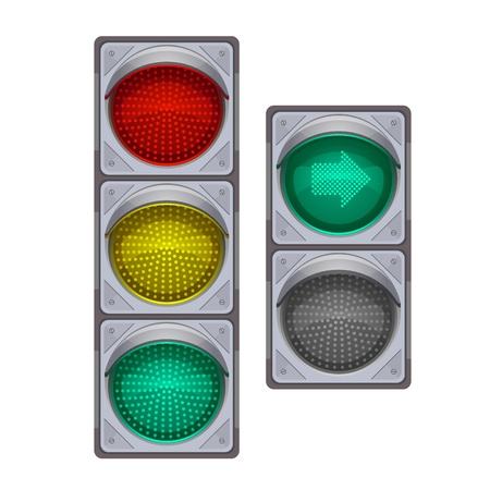 Traffic lights big and small with green arrow, isolated  illustration make transparent objects