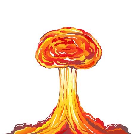 bombing: Nucleaire explosie illustratie geïsoleerd op witte achtergrond Stock Illustratie