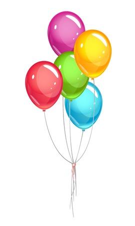 パーティー風船束リボン付き eps10 図を透明なオブジェクトを分離