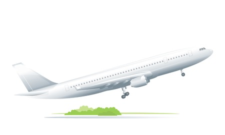 Passenger plane takes off from a runway, isolated Illustration