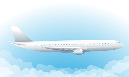 Passenger plane flyng in sky with clouds, eps10 illustration make transparent objects