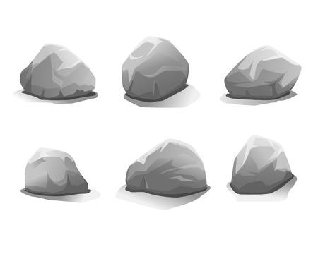 boulder: Set of six grey stones, eps10 illustration make transparent objects and opacity masks