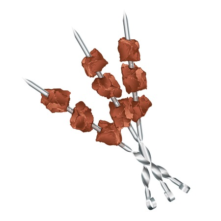 Three metal skewers with meats, barbecue, eps10 illustration make transparent objects and opacity masks Illustration