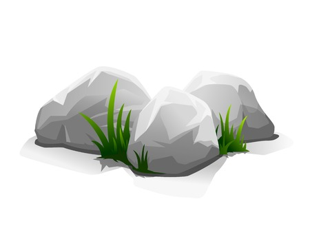 boulder: Composition of three stones and small grass, eps10 illustration make transparent objects and opacity masks