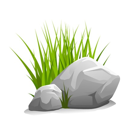 Composition of two stones and green grass, illustration isolated on white