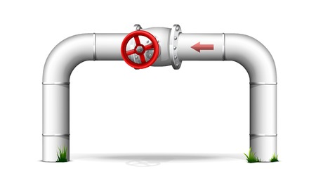 Pipe with red valve standing on the ground, Illustration