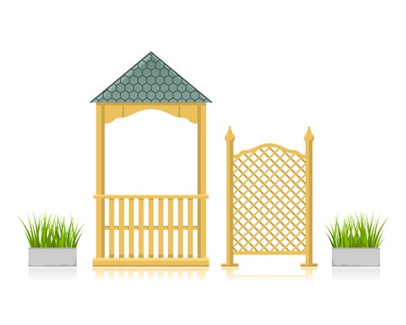trellis: Gazebo with wooden lattice and flowerbed with grass Illustration