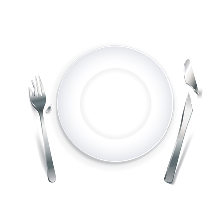 Empty plate with broken knife and fork, eps10 illustration make transparent objects and opacity masks