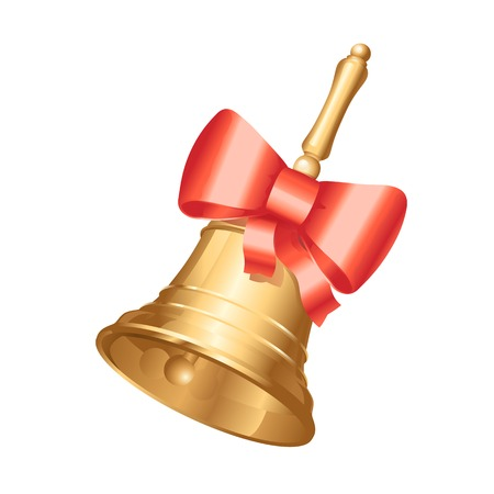 Golden school bell with red bow, isolated