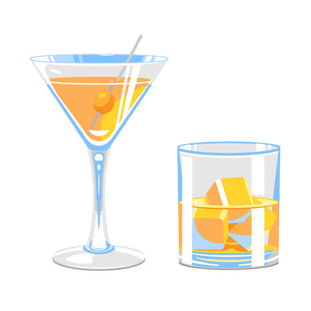 Set of stylized glasses of martini with olive and whiskey with ice