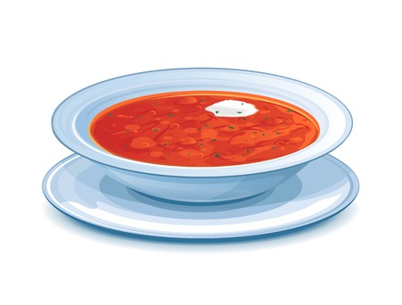 Plate with red borscht and sour cream, eps10 illustration make transparent objects and opacity masks