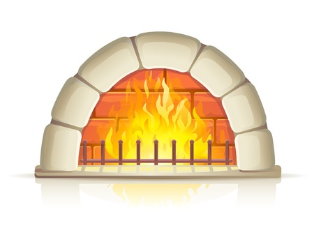 stone  fireplace: Semicircular stone fireplace with fire