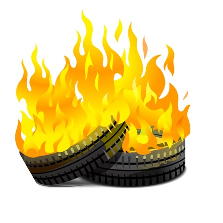 Two lying burning tires revolutionary barricade Illustration