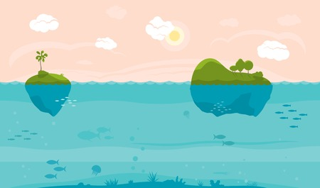 Sea game background with islands and underwater life Ilustração