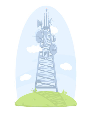 cell tower: Cell tower with antennas and satellite dishes, isolated