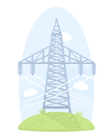 electricity post: One big high voltage post, isolated on white