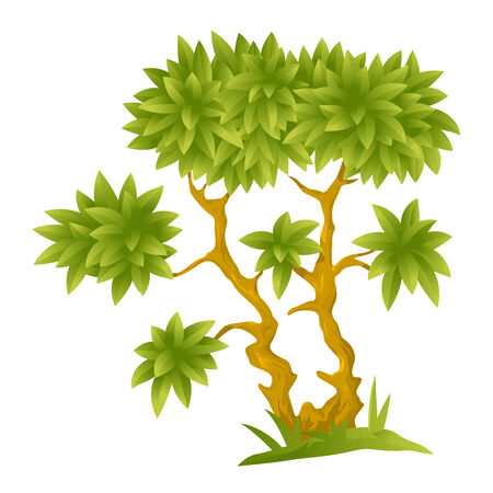 big and small: One small cartoon decorative tree with big green leaves, isolated Illustration