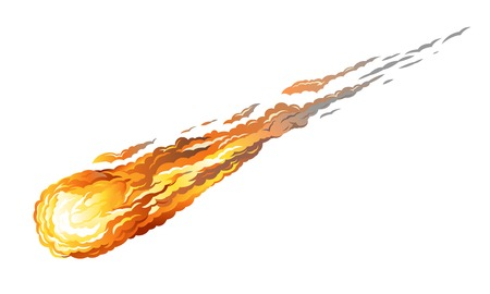 Falling asteriod with long fiery tail, isolated on white Illustration
