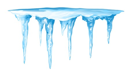 Blue frozen icicle cluster hanging down from snow Illustration