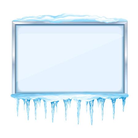 つららと金属製のフレーム、eps10 分離と雪に覆われた冬の空掲示板  イラスト・ベクター素材