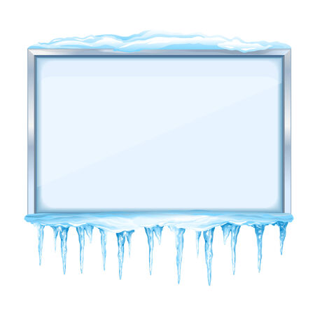 Empty snowy winter bulletin board with icicles and metal frame, eps10 isolated