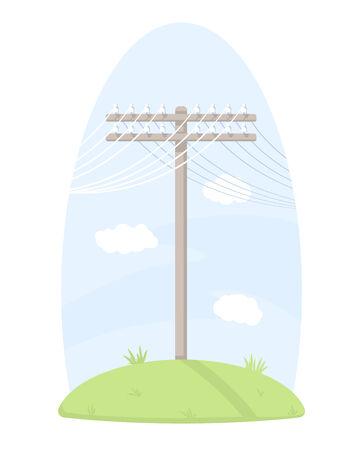telegraaf: Een houten telegraaf paal met draden, staande op gras, geïsoleerde