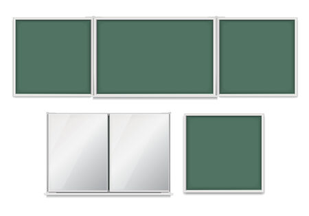 bulletin board: Set of empty school boards with green background include big blackboard with sections, closed board, small board Illustration
