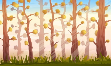 Cartoon forest game background landscape in autumn with fantastic trees, sunlights and green grass Illustration