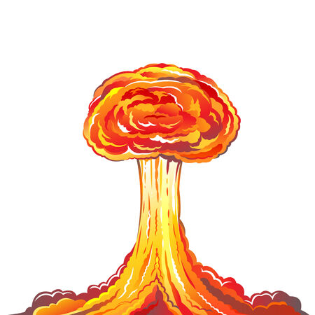 nuclear mushroom: Nuclear explosion illustration isolated on white background