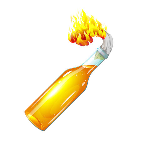 Molotov cocktail with burning rag Vector
