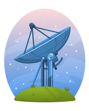 Radio telescope standing on the ground against the sky, isolated Illustration