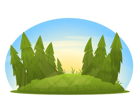 Forest glade with spruce trees, summer meadow with sunlight, eps10 isolated